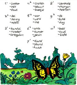 Vlinder woordpaar puzzel