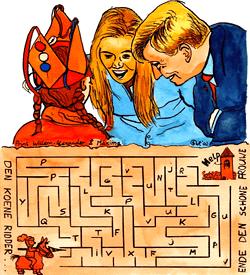 Schone jonkvrouw doolhof puzzel