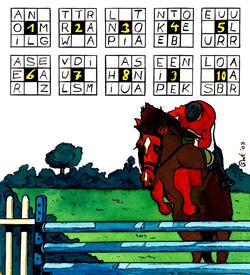 Paardrijden paardensprong puzzel