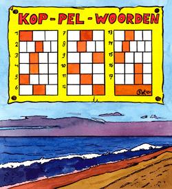 Strand koppelwoorden puzzel