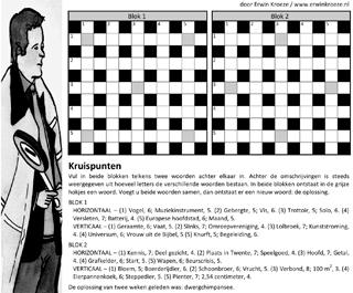 Klaarover kruispunten puzzel blokken