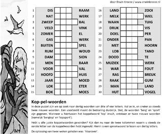 Koppelwoorden puzzel