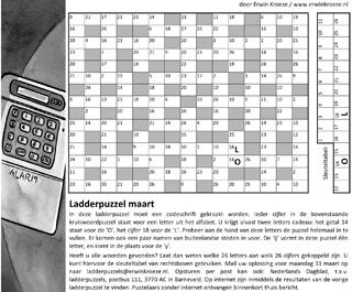 Ladder maart cijfercode puzzel