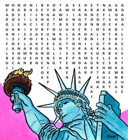 Vrijheidsbeeld woordzoeker puzzel