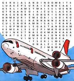 Piloot vliegtuig woordzoeker puzzel