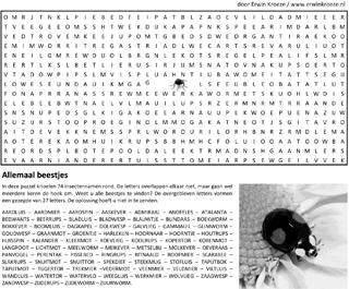 Beestjes woordzoeker puzzel