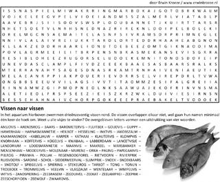 Vissen woordzoeker puzzel