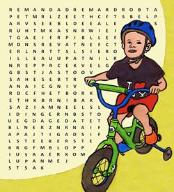 Fietsonderdelen woordzoeker puzzel