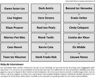 Visitekaartjes woordenhussel puzzel