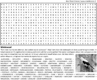Vogelsoorten woordzoeker puzzel