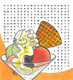 IJs lekkernijen puzzel woordzoeker