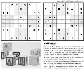 Blokbeesten sudoku puzzel