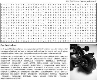 Orkest woordzoeker puzzel