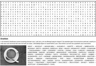 Dranken woordzoeker puzzel