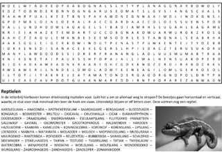 Reptielen woordzoeker puzzel