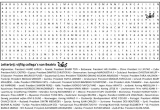 Staatshoofden puzzel woordzoeker